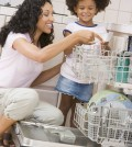 Woman and Child Loading Dishwasher