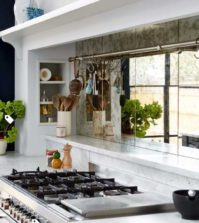 distressed glass backsplash